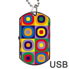 Kandinsky Circles Dog Tag Usb Flash (one Side)