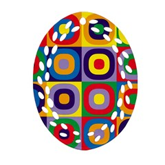 Kandinsky Circles Oval Filigree Ornament (two Sides)