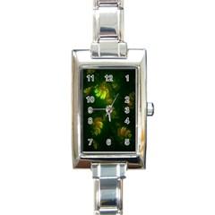 Light Fractal Plants Rectangle Italian Charm Watch by Nexatart