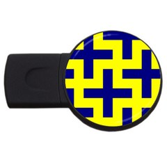 Pattern Blue Yellow Crosses Plus Style Bright Usb Flash Drive Round (2 Gb)