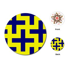 Pattern Blue Yellow Crosses Plus Style Bright Playing Cards (round)
