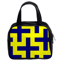 Pattern Blue Yellow Crosses Plus Style Bright Classic Handbags (2 Sides)