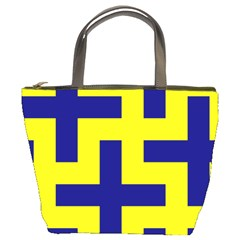 Pattern Blue Yellow Crosses Plus Style Bright Bucket Bags by Nexatart