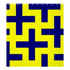 Pattern Blue Yellow Crosses Plus Style Bright Shower Curtain 66  X 72  (large)