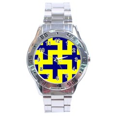 Pattern Blue Yellow Crosses Plus Style Bright Stainless Steel Analogue Watch