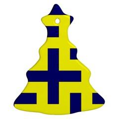 Pattern Blue Yellow Crosses Plus Style Bright Ornament (christmas Tree)  by Nexatart