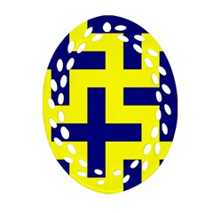 Pattern Blue Yellow Crosses Plus Style Bright Oval Filigree Ornament (two Sides)