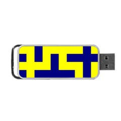 Pattern Blue Yellow Crosses Plus Style Bright Portable Usb Flash (one Side)