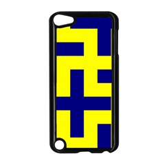 Pattern Blue Yellow Crosses Plus Style Bright Apple Ipod Touch 5 Case (black)