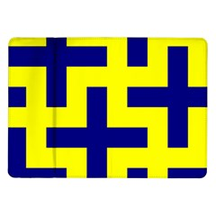 Pattern Blue Yellow Crosses Plus Style Bright Samsung Galaxy Tab 10 1  P7500 Flip Case