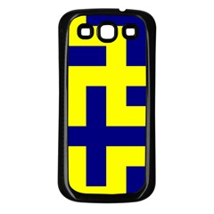 Pattern Blue Yellow Crosses Plus Style Bright Samsung Galaxy S3 Back Case (black)