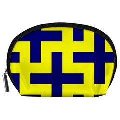 Pattern Blue Yellow Crosses Plus Style Bright Accessory Pouches (large)