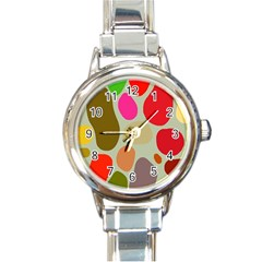 Pattern Design Abstract Shapes Round Italian Charm Watch