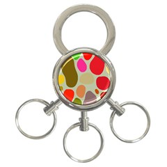 Pattern Design Abstract Shapes 3 Ring Key Chains
