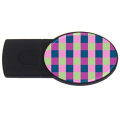Pink Teal Lime Orchid Pattern Usb Flash Drive Oval (2 Gb)