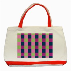 Pink Teal Lime Orchid Pattern Classic Tote Bag (red) by Nexatart