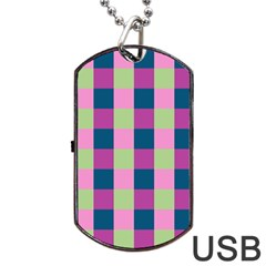 Pink Teal Lime Orchid Pattern Dog Tag Usb Flash (two Sides)