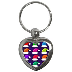 Santa Hats Santa Claus Holidays Key Chains (heart)