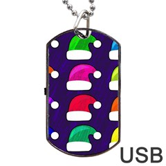 Santa Hats Santa Claus Holidays Dog Tag Usb Flash (one Side)
