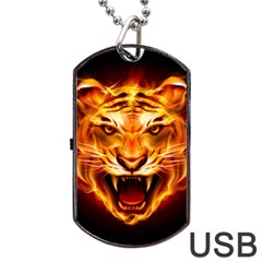 Tiger Dog Tag Usb Flash (one Side)