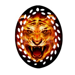 Tiger Oval Filigree Ornament (two Sides)