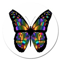 Abstract Animal Art Butterfly Magnet 5  (round) by Nexatart