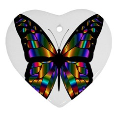 Abstract Animal Art Butterfly Heart Ornament (two Sides) by Nexatart