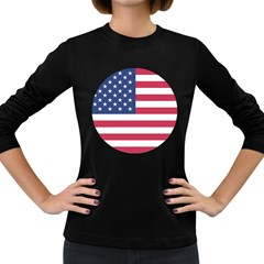 American Flag Women s Long Sleeve Dark T Shirts