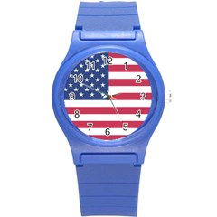 American Flag Round Plastic Sport Watch (s) by Nexatart
