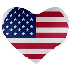 American Flag Large 19  Premium Heart Shape Cushions