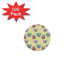 Animals Pastel Children Colorful 1  Mini Buttons (100 Pack)  by Nexatart
