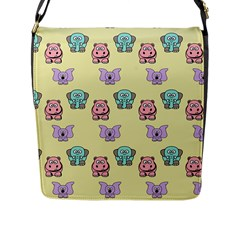 Animals Pastel Children Colorful Flap Messenger Bag (l)