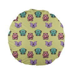 Animals Pastel Children Colorful Standard 15  Premium Flano Round Cushions
