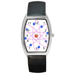 Atom Model Vector Clipart Barrel Style Metal Watch by Nexatart