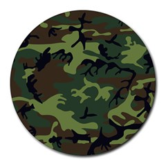 Camouflage Green Brown Black Round Mousepads by Nexatart