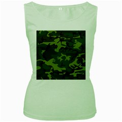 Camouflage Green Brown Black Women s Green Tank Top by Nexatart