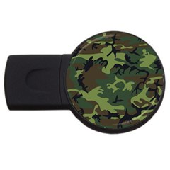 Camouflage Green Brown Black Usb Flash Drive Round (2 Gb)
