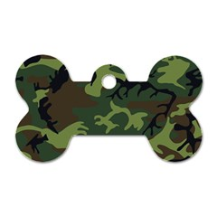 Camouflage Green Brown Black Dog Tag Bone (two Sides) by Nexatart