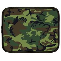 Camouflage Green Brown Black Netbook Case (large) by Nexatart