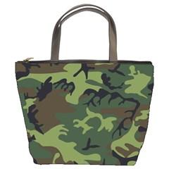 Camouflage Green Brown Black Bucket Bags