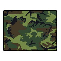 Camouflage Green Brown Black Fleece Blanket (small)