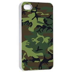 Camouflage Green Brown Black Apple Iphone 4/4s Seamless Case (white) by Nexatart