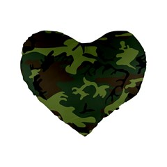 Camouflage Green Brown Black Standard 16  Premium Heart Shape Cushions