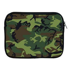Camouflage Green Brown Black Apple Ipad 2/3/4 Zipper Cases by Nexatart