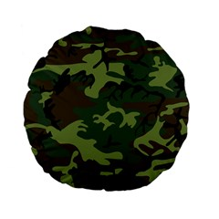 Camouflage Green Brown Black Standard 15  Premium Flano Round Cushions