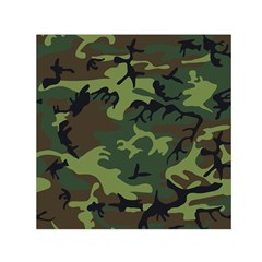 Camouflage Green Brown Black Small Satin Scarf (square) by Nexatart