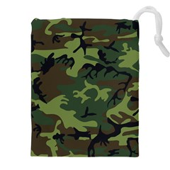 Camouflage Green Brown Black Drawstring Pouches (xxl) by Nexatart