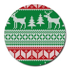 Christmas Jumper Pattern Round Mousepads by Nexatart