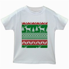 Christmas Jumper Pattern Kids White T Shirts by Nexatart