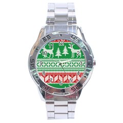 Christmas Jumper Pattern Stainless Steel Analogue Watch